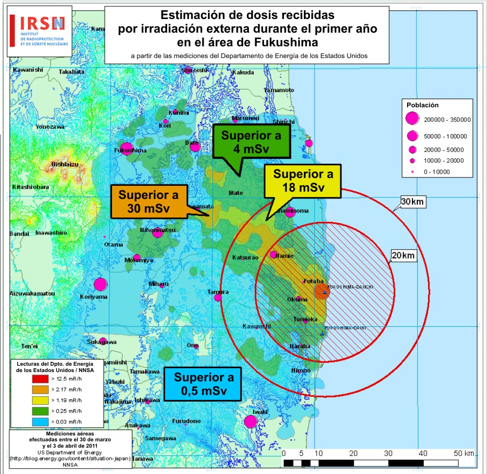Estimaciones de exposicin durante el primer ao en el rea de Fukushima (IRSN, Francia) (Clic para ampliar)