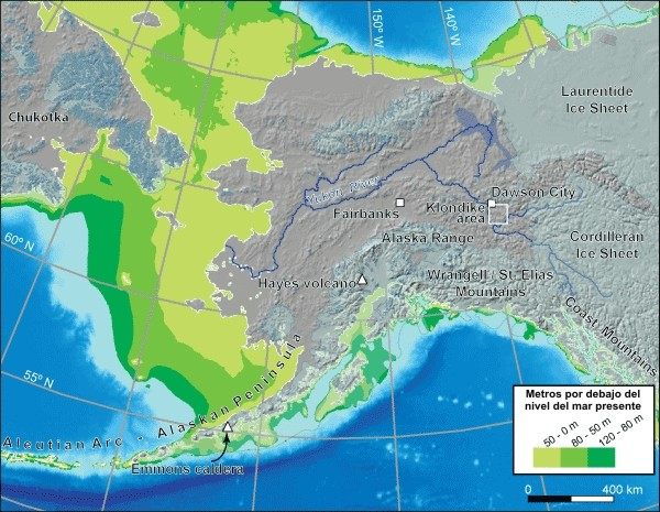 Beringia, con indicacin en verde de las tierras emergidas durante el ltimo Mximo Glacial. (Clic para ampliar)