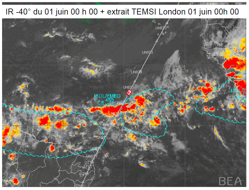 Tormenta convectiva en la Zona de Convergencia Intertropical que atravesaba el Air France 447 al inicio del accidente.